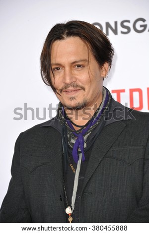 "LOS ANGELES, CA - JANUARY 21, 2015: Johnny Depp at the Los Angeles premiere of his movie ""Mortdecai"" at the TCL Chinese Theatre, Hollywood."