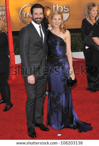 LOS ANGELES, CA - JANUARY 23, 2010: Jon Hamm & Jennifer Westfeldt at the 16th Annual Screen Actors Guild Awards at the Shrine Auditorium.