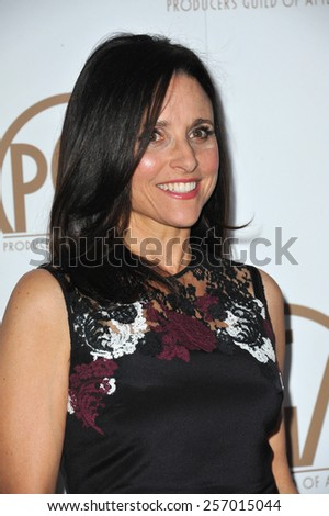 LOS ANGELES, CA - JANUARY 25, 2015: Julia Louis-Dreyfus at the 26th Annual Producers Guild Awards at the Hyatt Regency Century Plaza Hotel.