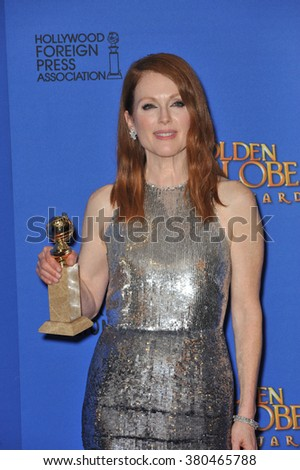 LOS ANGELES, CA - JANUARY 11, 2015: Julianne Moore at the 72nd Annual Golden Globe Awards at the Beverly Hilton Hotel, Beverly Hills.