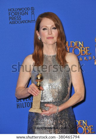 LOS ANGELES, CA - JANUARY 11, 2015: Julianne Moore at the 72nd Annual Golden Globe Awards at the Beverly Hilton Hotel, Beverly Hills. - stock photo