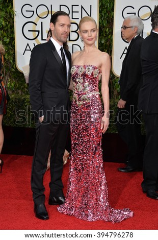 LOS ANGELES, CA - JANUARY 10, 2016: Kate Bosworth & Michael Polish at the 73rd Annual Golden Globe Awards at the Beverly Hilton Hotel.