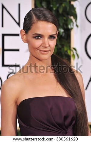 LOS ANGELES, CA - JANUARY 11, 2015: Katie Holmes at the 72nd Annual Golden Globe Awards at the Beverly Hilton Hotel, Beverly Hills. - stock photo