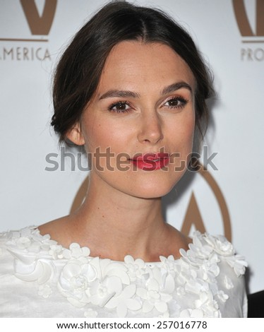 LOS ANGELES, CA - JANUARY 25, 2015: Keira Knightley at the 26th Annual Producers Guild Awards at the Hyatt Regency Century Plaza Hotel.