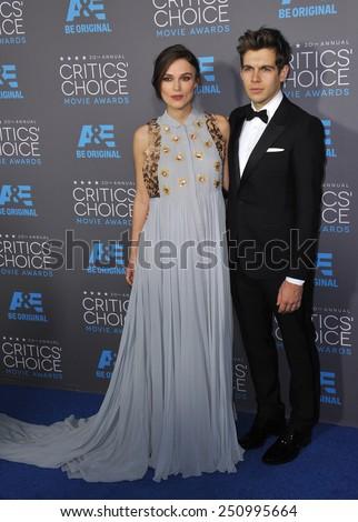 LOS ANGELES, CA - JANUARY 15, 2015: Keira Knightley & husband James Righton at the 20th Annual Critics' Choice Movie Awards at the Hollywood Palladium.  - stock photo