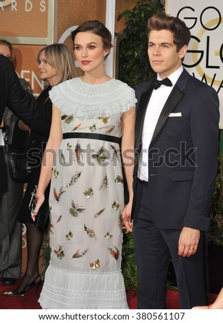 LOS ANGELES, CA - JANUARY 11, 2015: Keira Knightley & James Righton at the 72nd Annual Golden Globe Awards at the Beverly Hilton Hotel, Beverly Hills.