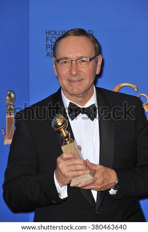 LOS ANGELES, CA - JANUARY 11, 2015: Kevin Spacey at the 72nd Annual Golden Globe Awards at the Beverly Hilton Hotel, Beverly Hills. - stock photo