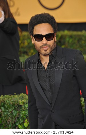 LOS ANGELES, CA - JANUARY 25, 2015: Lenny Kravitz at the 2015 Screen Actors Guild  Awards at the Shrine Auditorium.  - stock photo
