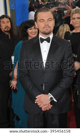 LOS ANGELES, CA - JANUARY 12, 2014: Leonardo DiCaprio at the 71st Annual Golden Globe Awards at the Beverly Hilton Hotel. - stock photo