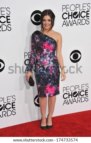 LOS ANGELES, CA - JANUARY 8, 2014: Lucy Hale at the 2014 People's Choice Awards at the Nokia Theatre, LA Live.  - stock photo