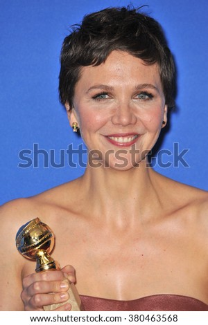 LOS ANGELES, CA - JANUARY 11, 2015: Maggie Gyllenhaal at the 72nd Annual Golden Globe Awards at the Beverly Hilton Hotel, Beverly Hills. - stock photo