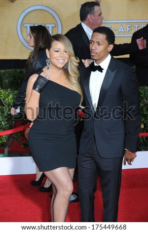 LOS ANGELES, CA - JANUARY 18, 2014: Mariah Carey & Nick Cannon at the 20th Annual Screen Actors Guild Awards at the Shrine Auditorium.  - stock photo