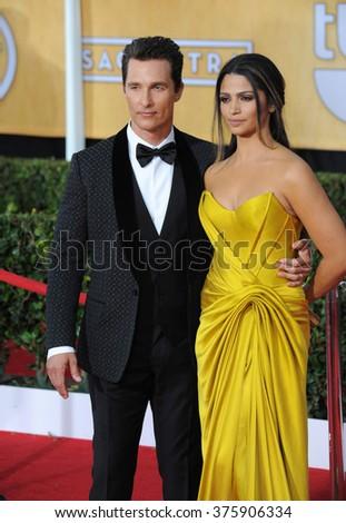 LOS ANGELES, CA - JANUARY 18, 2014: Matthew McConaughey & Camila Alves at the 20th Annual Screen Actors Guild Awards at the Shrine Auditorium. - stock photo