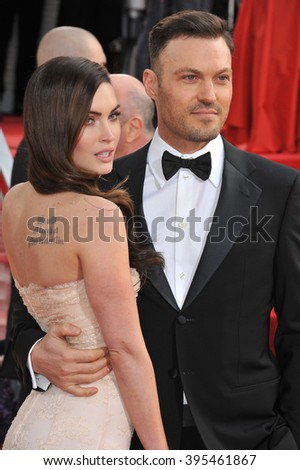 LOS ANGELES, CA - JANUARY 13, 2013: Megan Fox & Brian Austin at the 70th Golden Globe Awards at the Beverly Hilton Hotel.