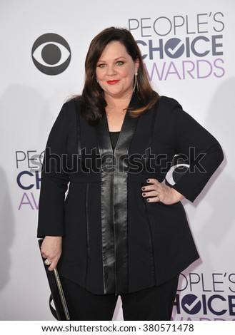 LOS ANGELES, CA - JANUARY 7, 2015: Melissa McCarthy at the 2015 People's Choice  Awards at the Nokia Theatre L.A. Live downtown Los Angeles. - stock photo