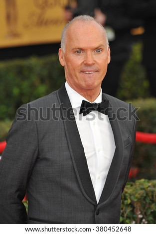 LOS ANGELES, CA - JANUARY 25, 2015: Michael Keaton at the 2015 Screen Actors Guild  Awards at the Shrine Auditorium.