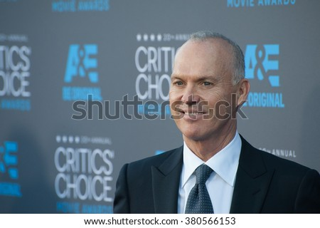 LOS ANGELES, CA - JANUARY 15, 2015: Michael Keaton at the 20th Annual Critics' Choice Movie Awards at the Hollywood Palladium.