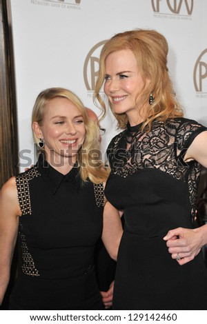 LOS ANGELES, CA - JANUARY 26, 2013: Naomi Watts & Nicole Kidman (right) at the 2013 Producers Guild Awards at the Beverly Hilton Hotel.