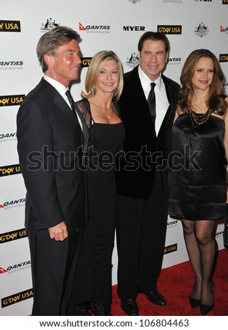 LOS ANGELES, CA - JANUARY 22, 2011: Olivia Newton-John & husband John Easterling (left) with John Travolta & Kelly Preston at the 2011 G'Day USA Black Tie Gala at the Hollywood Palladium.