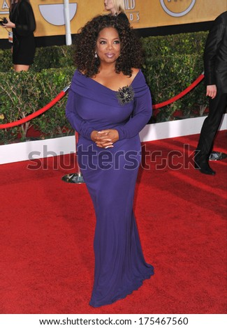LOS ANGELES, CA - JANUARY 18, 2014: Oprah Winfrey at the 20th Annual Screen Actors Guild Awards at the Shrine Auditorium.  - stock photo