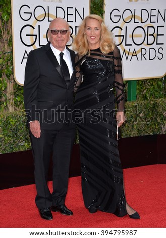 LOS ANGELES, CA - JANUARY 10, 2016: Rupert Murdoch & Jerry Hall at the 73rd Annual Golden Globe Awards at the Beverly Hilton Hotel.