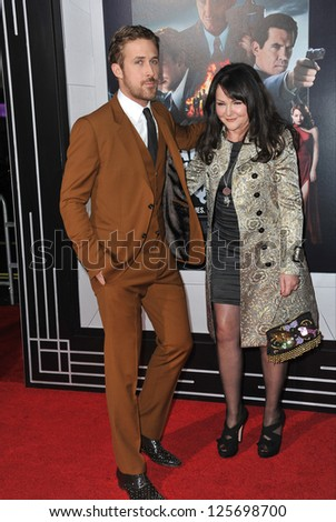 """LOS ANGELES, CA - JANUARY 7, 2013: Ryan Gosling & mother Donna at the world premiere of his movie """"Gangster Squad"""" at Grauman's Chinese Theatre, Hollywood. - stock photo"""