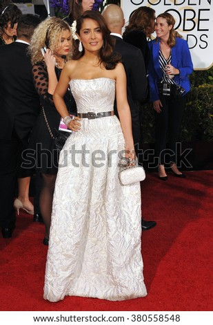 LOS ANGELES, CA - JANUARY 11, 2015: Salma Hayek at the 72nd Annual Golden Globe Awards at the Beverly Hilton Hotel, Beverly Hills.