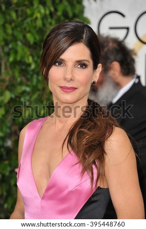 LOS ANGELES, CA - JANUARY 12, 2014: Sandra Bullock at the 71st Annual Golden Globe Awards at the Beverly Hilton Hotel. - stock photo