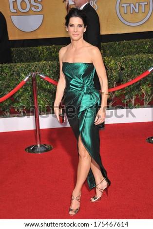 LOS ANGELES, CA - JANUARY 18, 2014: Sandra Bullock at the 20th Annual Screen Actors Guild Awards at the Shrine Auditorium.  - stock photo
