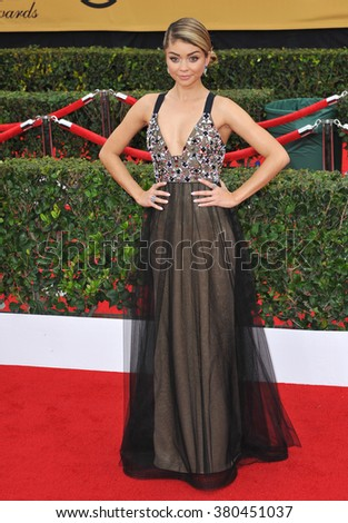 LOS ANGELES, CA - JANUARY 25, 2015: Sarah Hyland at the 2015 Screen Actors Guild  Awards at the Shrine Auditorium.