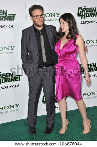 "LOS ANGELES, CA - JANUARY 10, 2011: Seth Rogen & Lauren Miller at the Los Angeles premiere of his movie ""The Green Hornet"" at Grauman's Chinese Theatre, Hollywood. January 10, 2011  Los Angeles, CA"