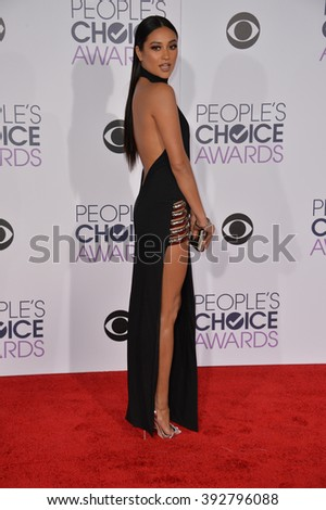 LOS ANGELES, CA - JANUARY 6, 2016: Shay Mitchell at the People's Choice Awards 2016 at the Microsoft Theatre LA Live.