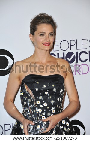 LOS ANGELES, CA - JANUARY 7, 2015: Stana Katic at the 2015 People's Choice  Awards at the Nokia Theatre L.A. Live downtown Los Angeles.