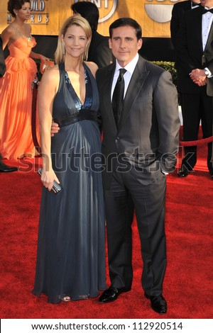 LOS ANGELES, CA - JANUARY 25, 2009: Steve Carell & wife at the 15th Annual Screen Actors Guild Awards at the Shrine Auditorium, Los Angeles.