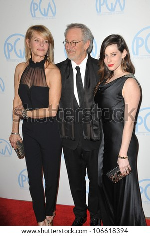 LOS ANGELES, CA - JANUARY 21, 2012: Steven Spielberg; wife Kate Capshaw (left); daughter Sasha Spielberg at the Producers Guild Awards at the Beverly Hilton Hotel. January 21, 2012  Los Angeles, CA
