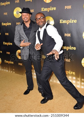 """LOS ANGELES, CA - JANUARY 6, 2015: Terrence Howard & director Lee Daniels at the premiere of Fox's new TV series """"Empire"""" at the Cinerama Dome, Hollywood.  - stock photo"""