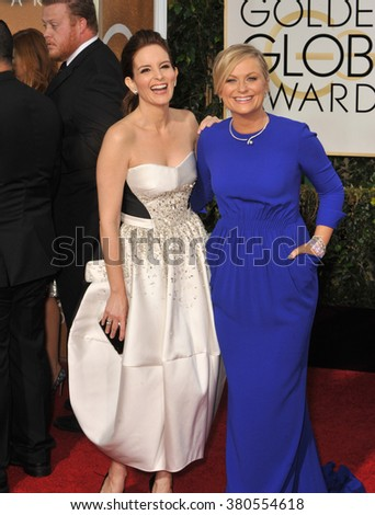 LOS ANGELES, CA - JANUARY 11, 2015: Tina Fey & Amy Poehler at the 72nd Annual Golden Globe Awards at the Beverly Hilton Hotel, Beverly Hills. - stock photo