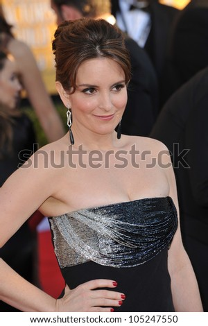 LOS ANGELES, CA - JANUARY 29, 2012: Tina Fey at the 17th Annual Screen Actors Guild Awards at the Shrine Auditorium, Los Angeles. January 29, 2012  Los Angeles, CA - stock photo