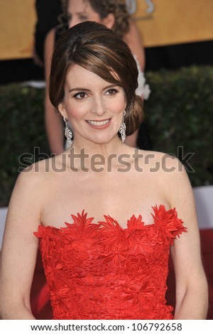 LOS ANGELES, CA - JANUARY 30, 2011: Tina Fey at the 17th Annual Screen Actors Guild Awards at the Shrine Auditorium. January 30, 2011  Los Angeles, CA - stock photo