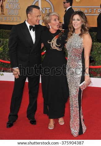 LOS ANGELES, CA - JANUARY 18, 2014: Tom Hanks, wife Rita Wilson & Emma Thompson at the 20th Annual Screen Actors Guild Awards at the Shrine Auditorium.