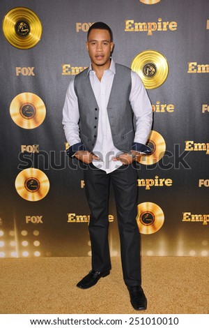 "LOS ANGELES, CA - JANUARY 6, 2015: Trai Byers at the premiere of Fox's new TV series ""Empire"" at the Cinerama Dome, Hollywood.  - stock photo"