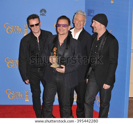 LOS ANGELES, CA - JANUARY 12, 2014: U2 with Bono & The Edge in the press room at the 71st Annual Golden Globe Awards