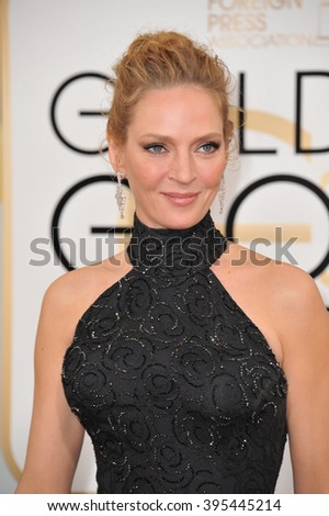 LOS ANGELES, CA - JANUARY 12, 2014: Uma Thurman at the 71st Annual Golden Globe Awards at the Beverly Hilton Hotel. - stock photo