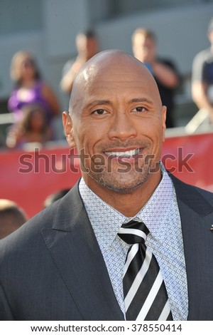 "LOS ANGELES, CA - JULY 16, 2014: Actor Dwayne Johnson, aka ""The Rock"", at the 2014 ESPY Awards at the Nokia Theatre LA Live. - stock photo"