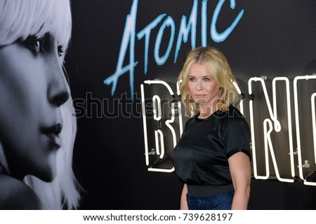 "LOS ANGELES, CA. July 24, 2017: Actress Chelsea Handler at the premiere for ""Atomic Blonde"" at The Theatre at Ace Hotel, Los Angeles."
