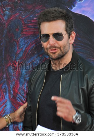"LOS ANGELES, CA - JULY 21, 2014: Bradley Cooper at the world premiere of his movie ""Guardians of the Galaxy"" at the El Capitan Theatre, Hollywood. - stock photo"
