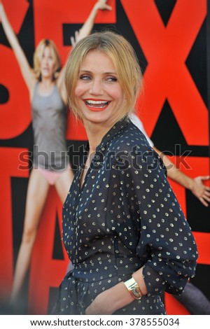 """LOS ANGELES, CA - JULY 10, 2014: Cameron Diaz at the world premiere of her movie """"Sex Tape"""" at the Regency Village Theatre, Westwood. - stock photo"""