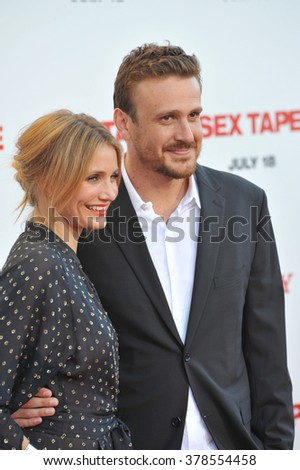 """LOS ANGELES, CA - JULY 10, 2014: Cameron Diaz & Jason Segel at the world premiere of their movie """"Sex Tape"""" at the Regency Village Theatre, Westwood. - stock photo"""
