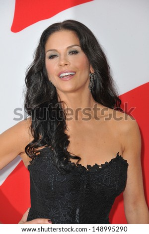 "LOS ANGELES, CA - JULY 11, 2013: Catherine Zeta-Jones at the Los Angeles premiere of her new movie ""Red 2"" at the Westwood Village Theatre.  - stock photo"