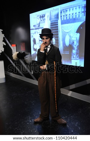 LOS ANGELES, CA - JULY 21, 2009: Charlie Chaplin waxwork figure - grand opening of Madame Tussauds Hollywood. - stock photo